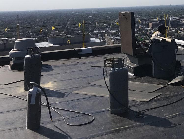 TPO Roof being installed in San Antonio